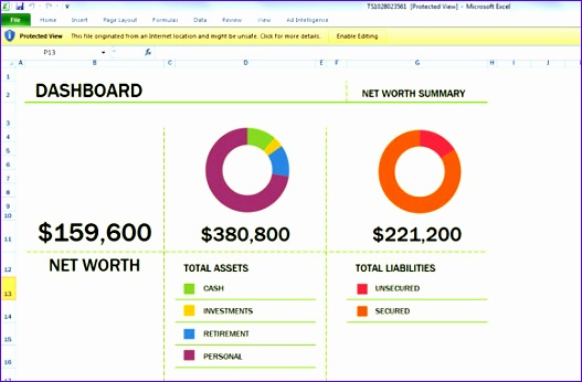 net worth excel calculate dashboard