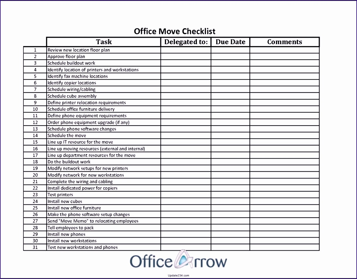12 Office Move Checklist Template Excel - ExcelTemplates ...