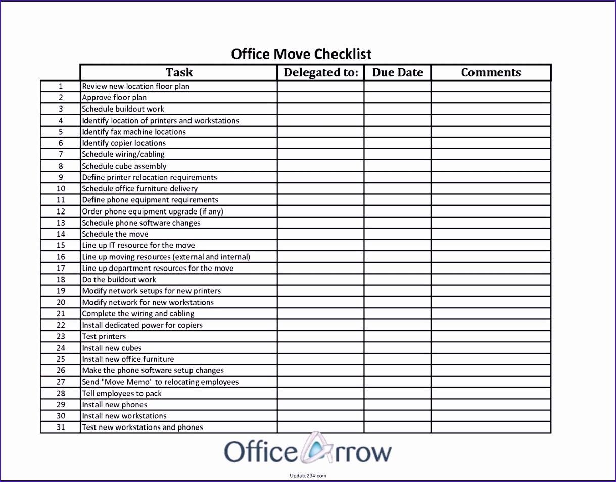 fice Move Checklist Template Excel