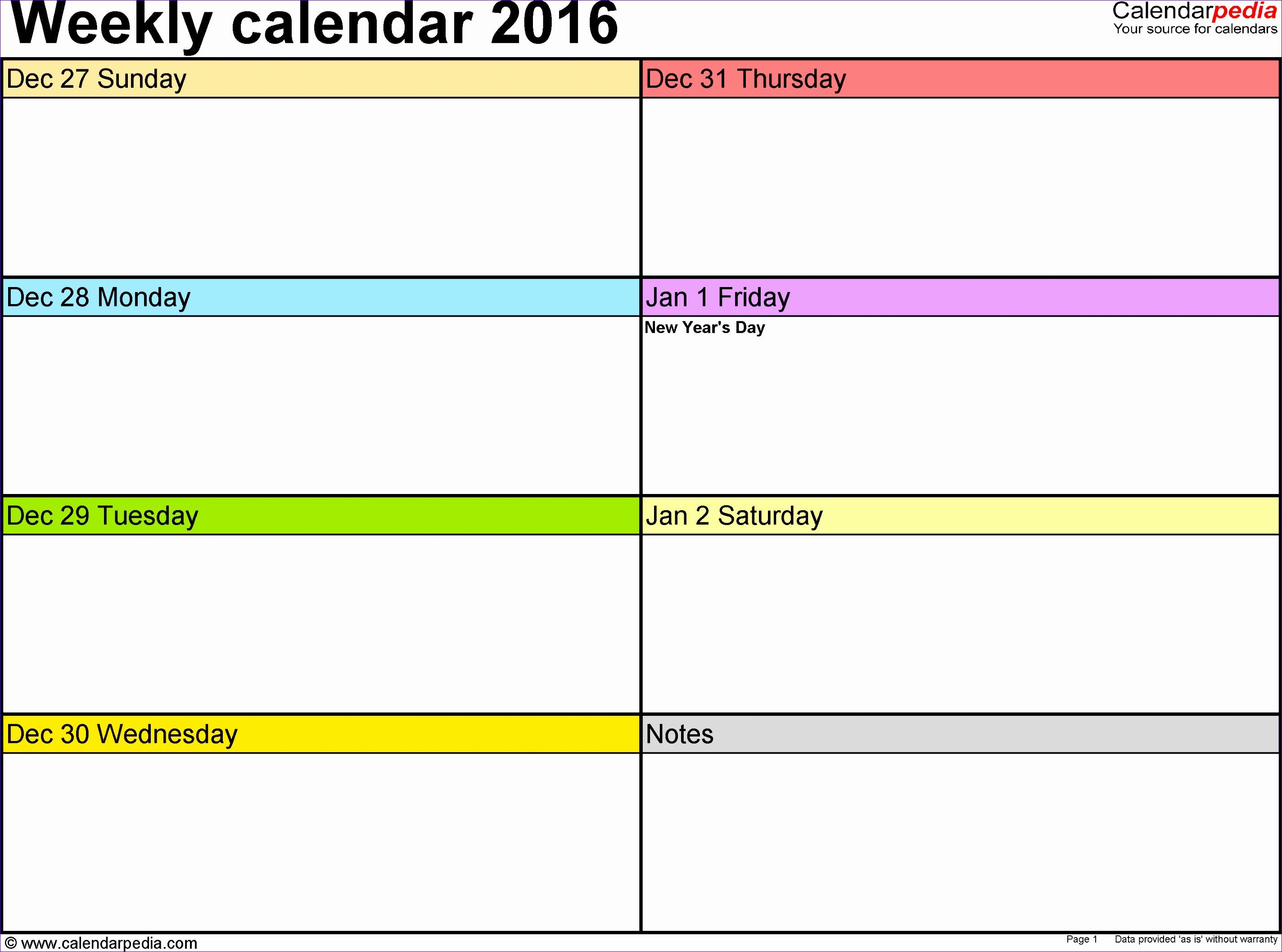 weekly calendar 2016