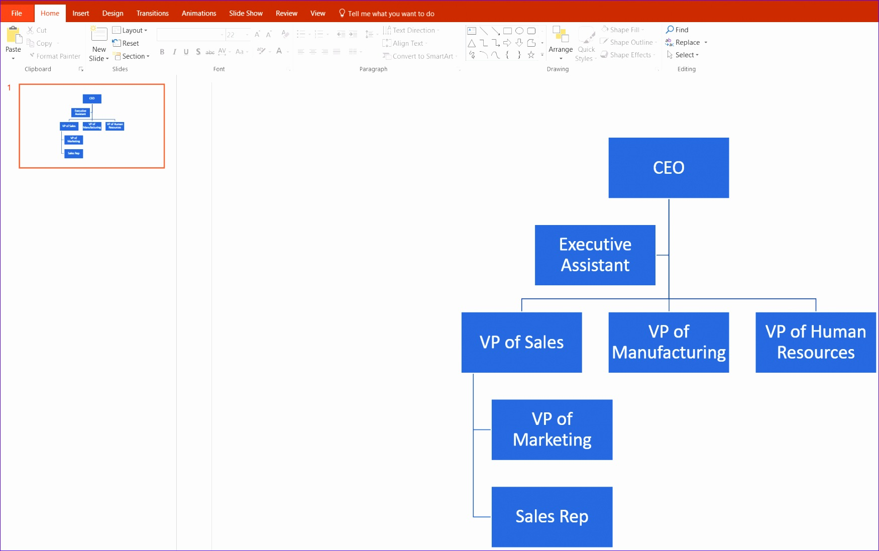 Org Chart PowerPoint Customize Hierarchy PNG
