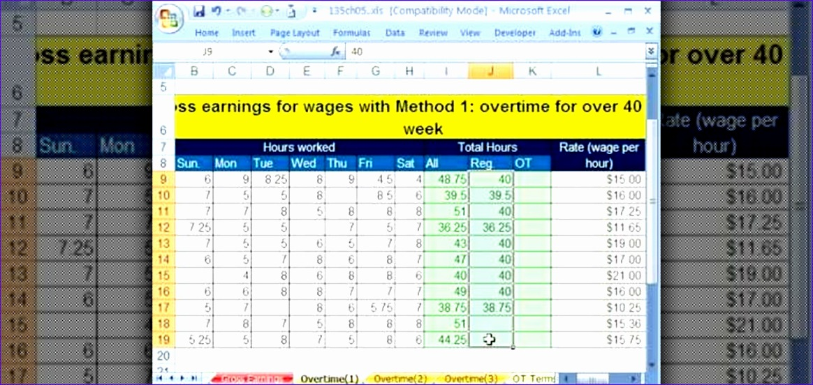 calculate gross and overtime pay microsoft excel 1280x600