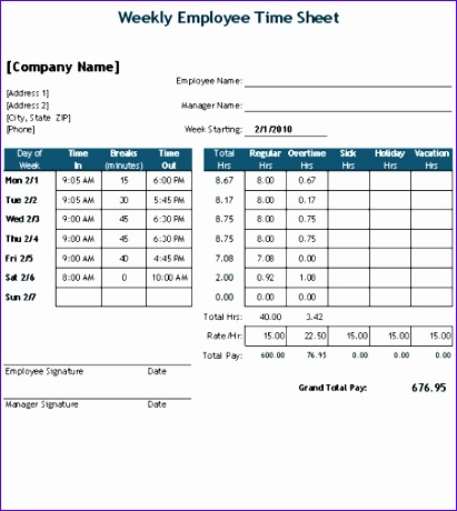 timesheet with breaks in minutes