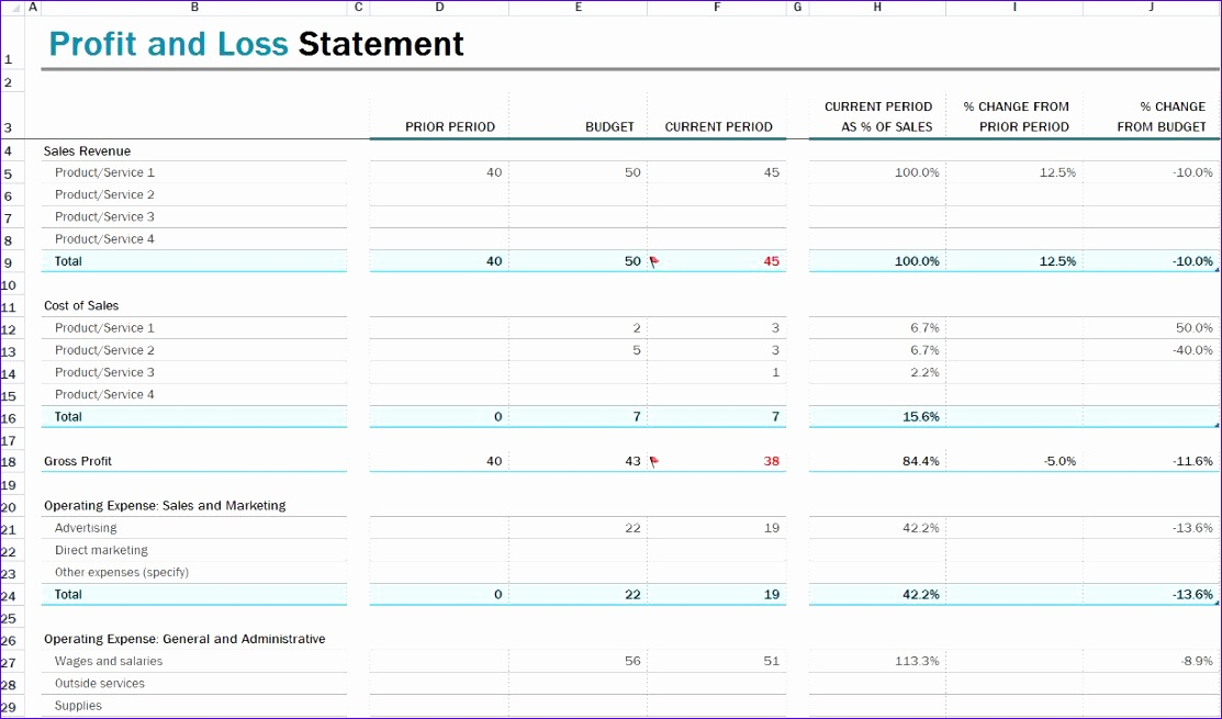 P And L Template Excel ExcelTemplates ExcelTemplates - P and l template