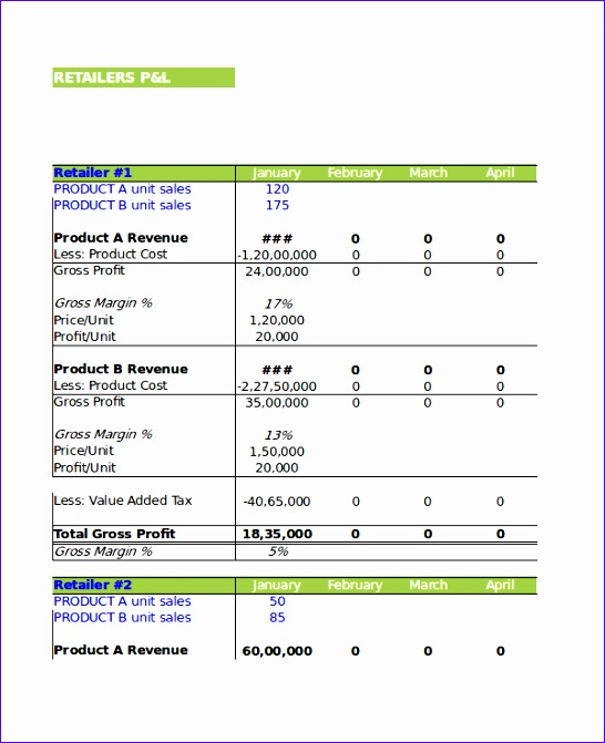 Excel Profit And Loss Template  16 Free Excel Documents