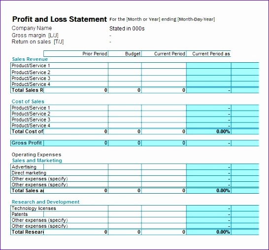 Fillable Sample Profit and Loss Statement1
