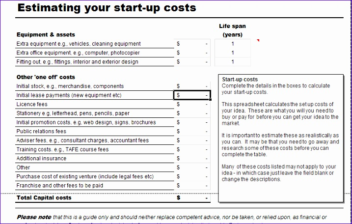 business start up costs calculator