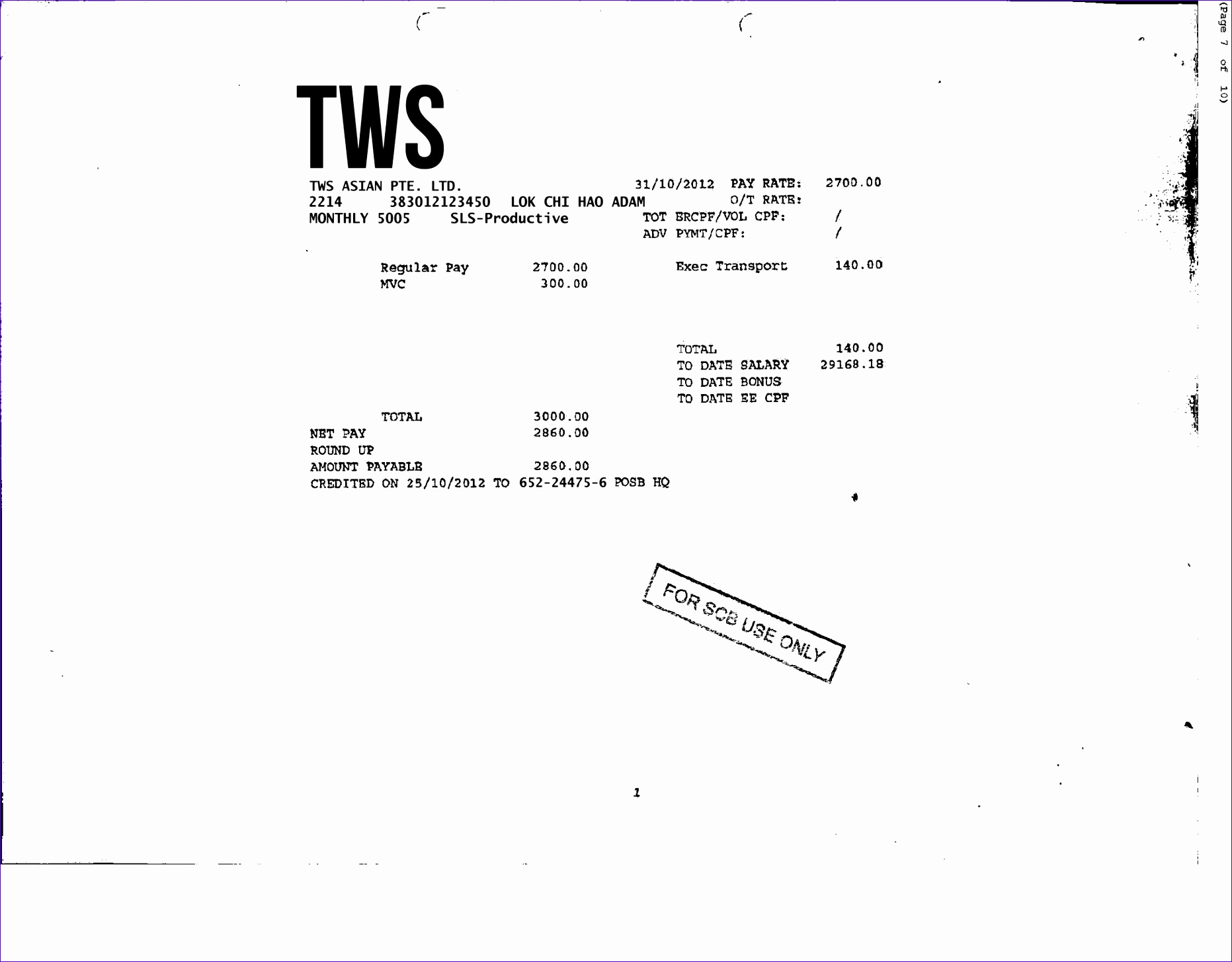 payslip sample