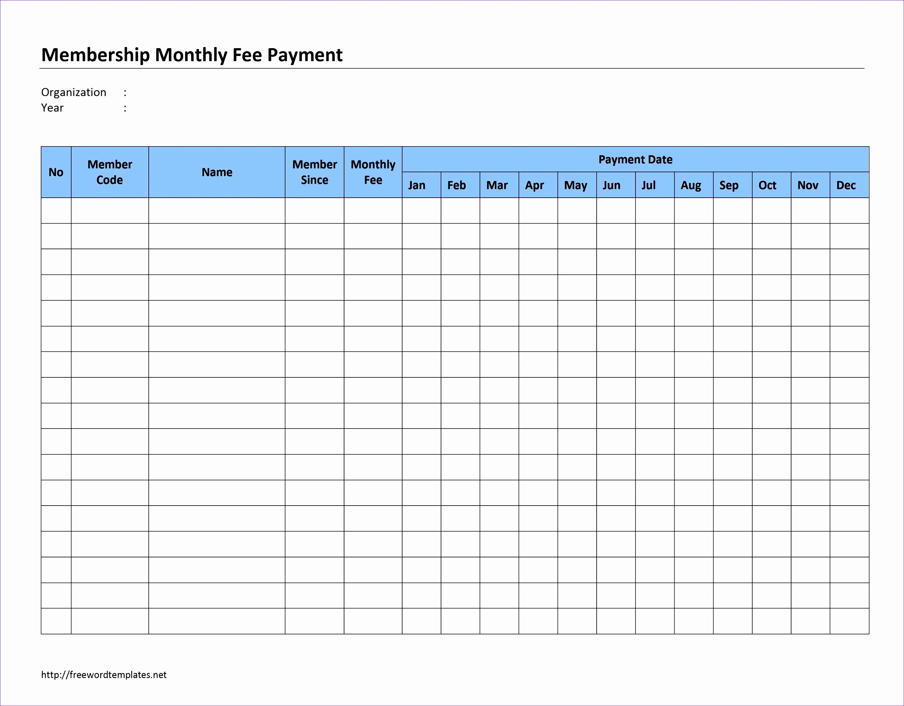 Membership Monthly Fee Payment
