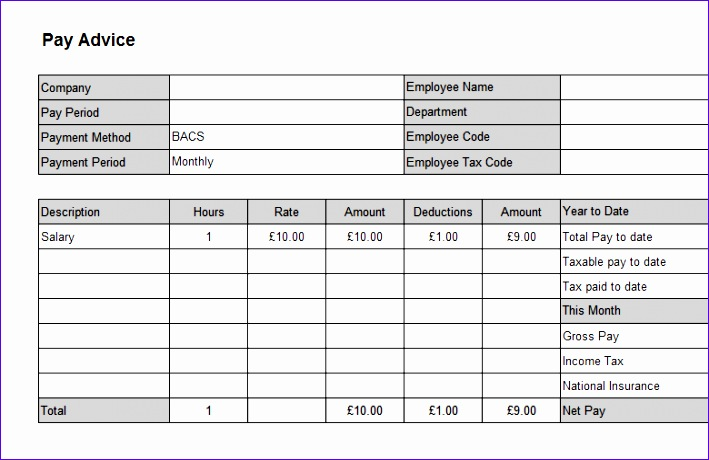 Payslip Template In Excel
