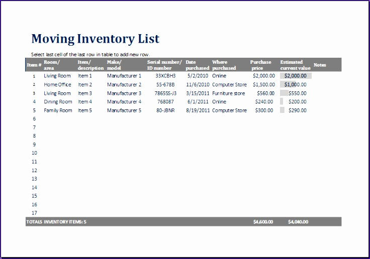 Personal Collection Inventory Afssd Lovely Ms Excel Printable Moving Inventory List Template