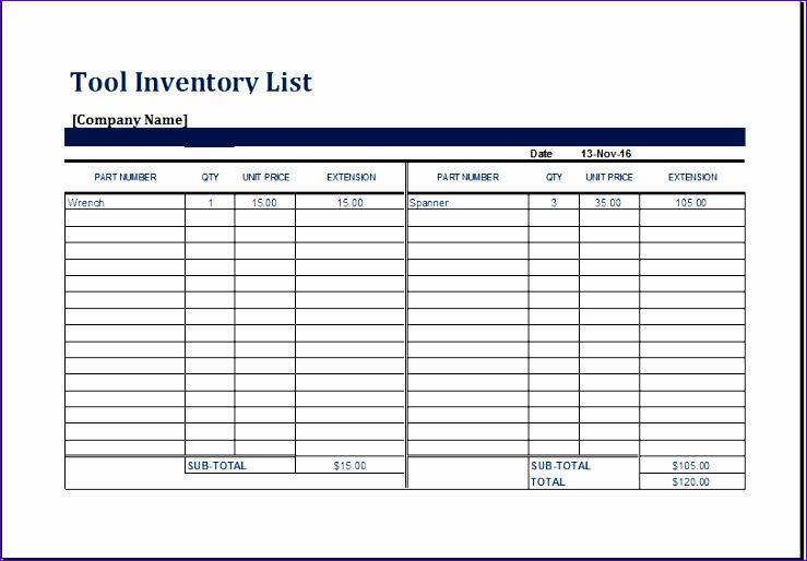 Personal Collection Inventory Ldcyl Fresh Ms Excel Printable tool Inventory Sheet Template
