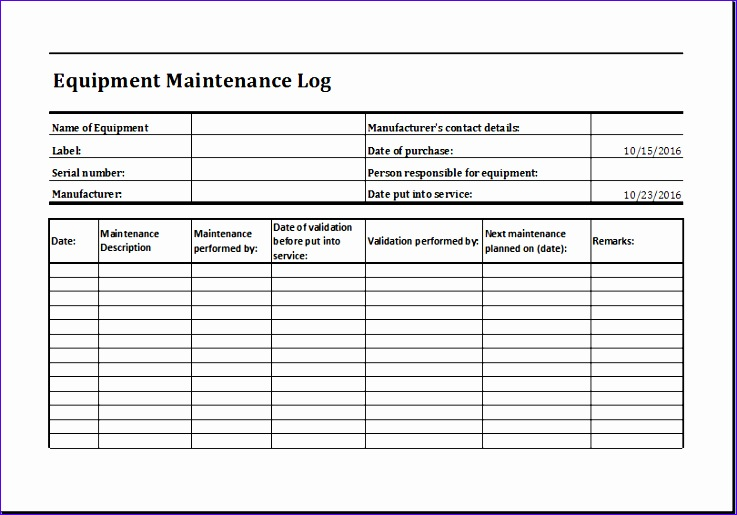 Personal Collection Inventory Mrydr Elegant Equipment Maintenance Log Template Ms Excel