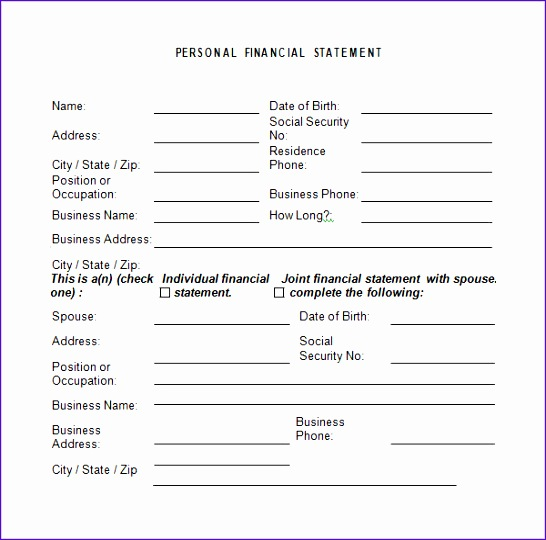 Personal Financial Statement Template1