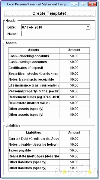 excel personal financial statement template software