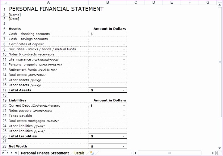 Personal Financial Statement Excel Template
