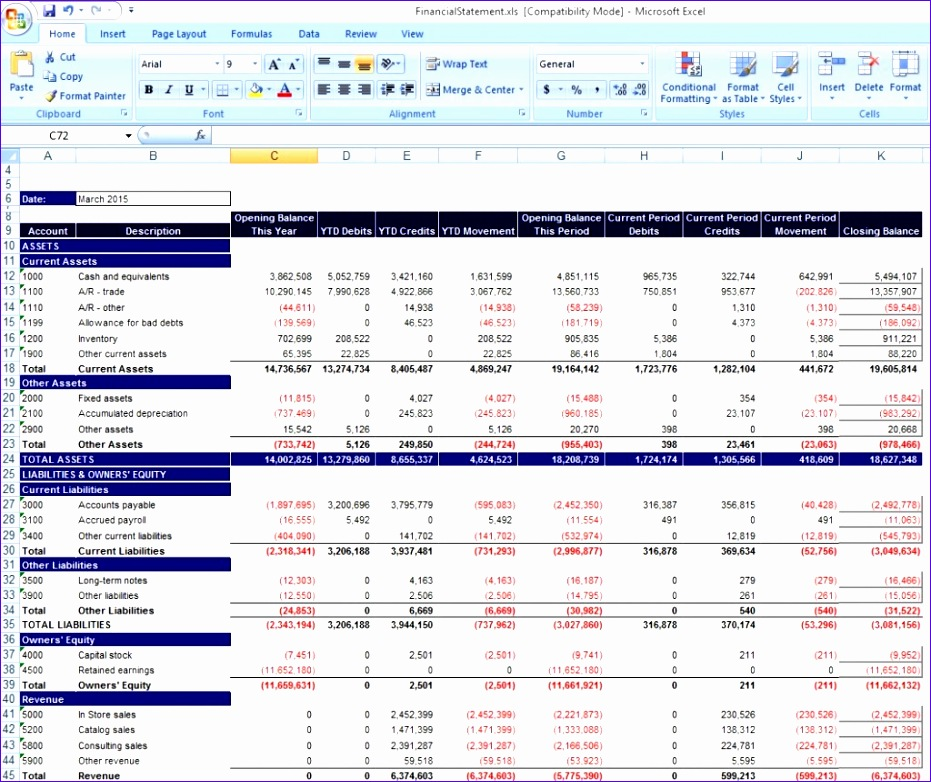 9 Personal Financial Statement Template Excel Free