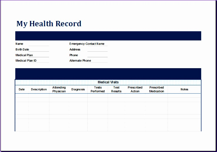 Personal Medical Health Record Sheet Dvchl New Ms Excel Personal Medical Health Record Template