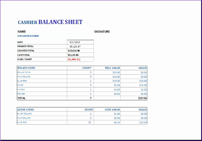 Petty Cash Log Vjz Inspirational Cashier Balance Sheet Template