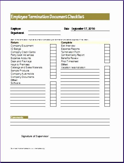 Employee termination documents checklist