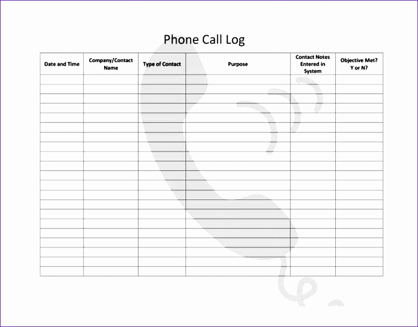 call log template 21