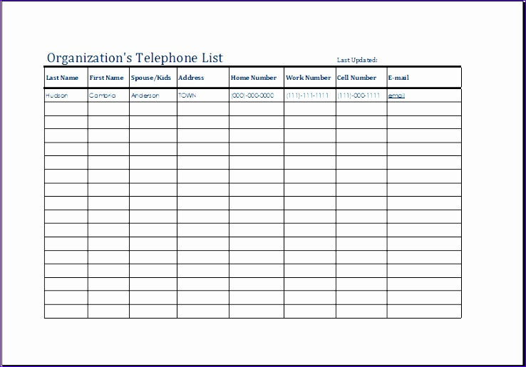 organizations telephone list