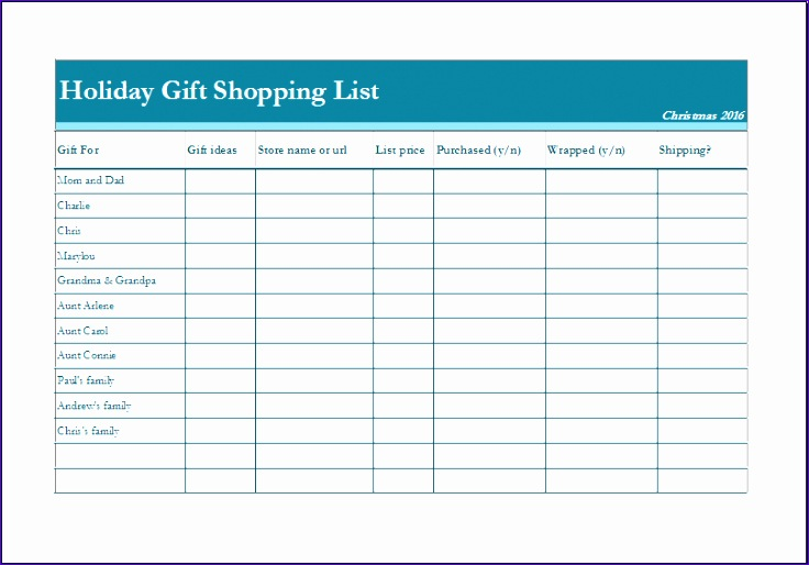 Holiday t shopping list