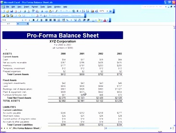 pro forma balance sheet template excel