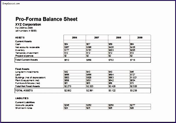 Proforma Balance Sheet Template MS Excel