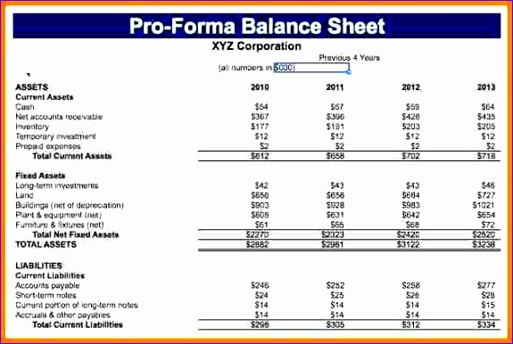 sample pro forma financial statements pro forma balance sheet