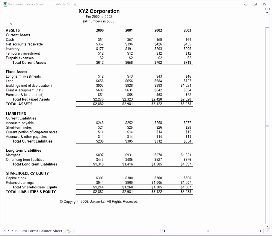 how to create a pro forma income statement in excel
