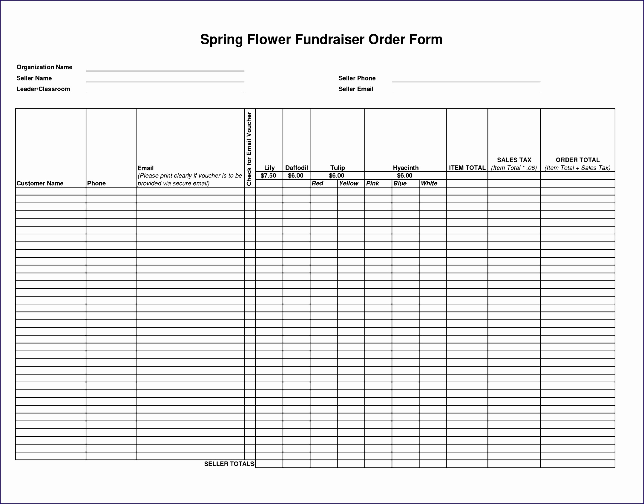 Product order form Template Excel K0rpn Awesome Flower Fundraiser order forms Template Besttemplates123