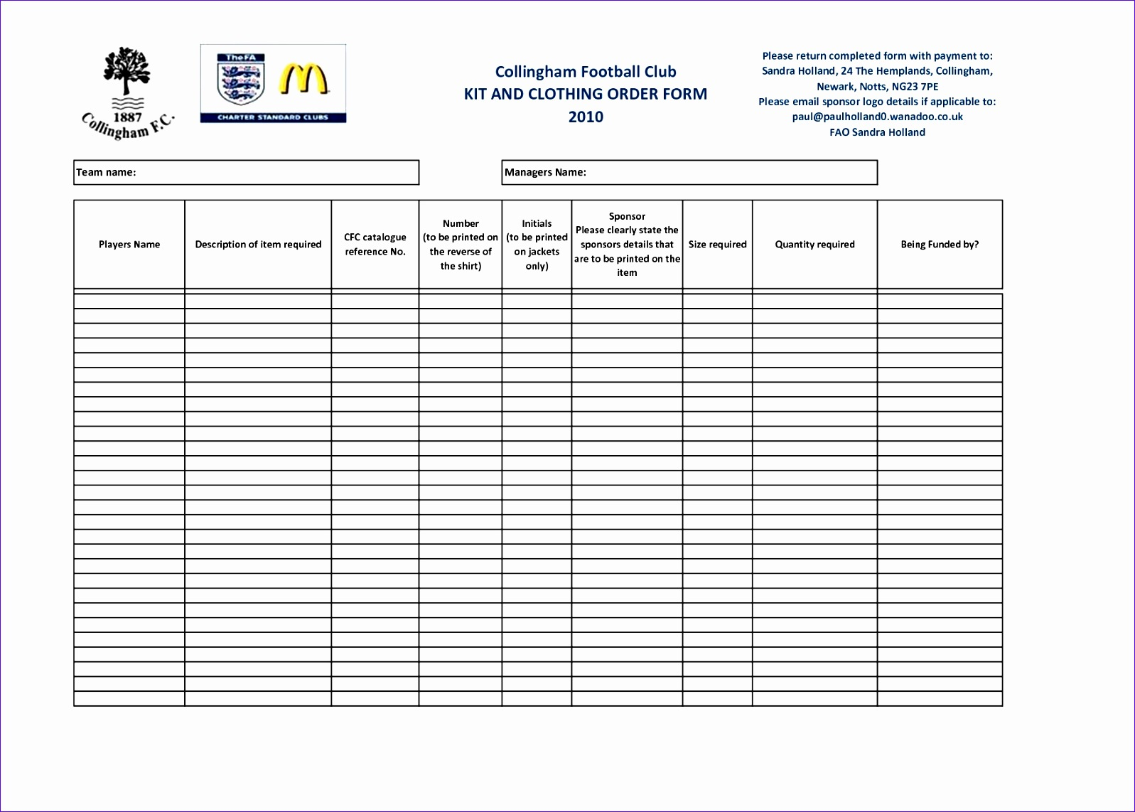 Order Form Template Excel Download