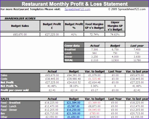 restaurant profit and loss statement excel