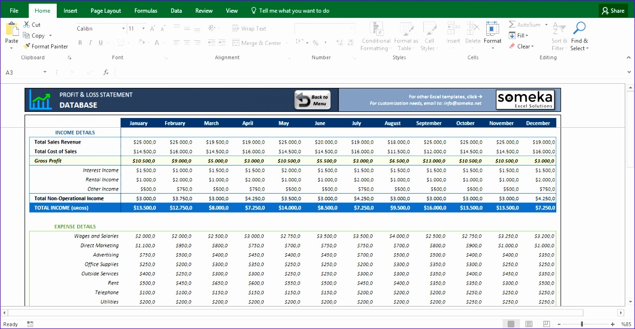 12 profit loss excel template exceltemplates for Restaurant income statement template excel