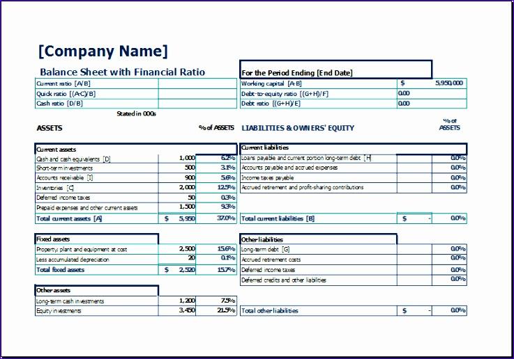balance sheet with financial ratio