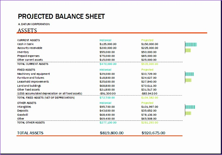 Profit and Loss Statement Jfcan Beautiful Projected Balance Sheet Template for Excel