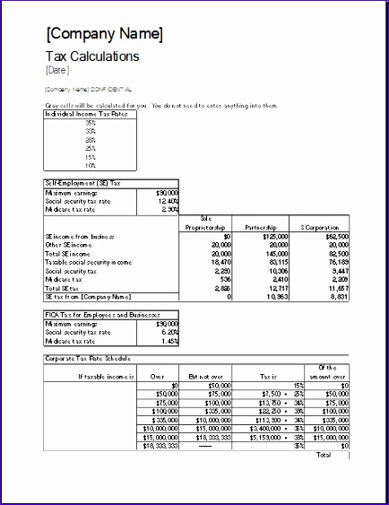 Proforma Balance Sheet T3ezo Ideas Corporate Tax Calculator Template