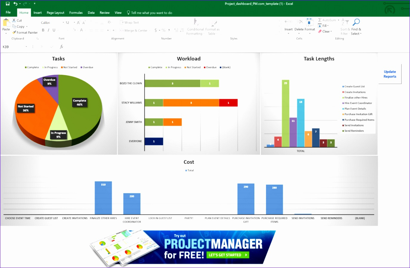 Excel Dashboard template projectmanager