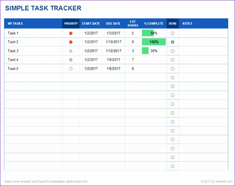 simple task tracker template