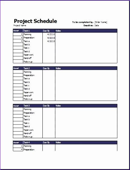 Business Project Schedule