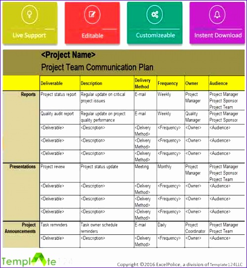 Project Team munication Plan Template