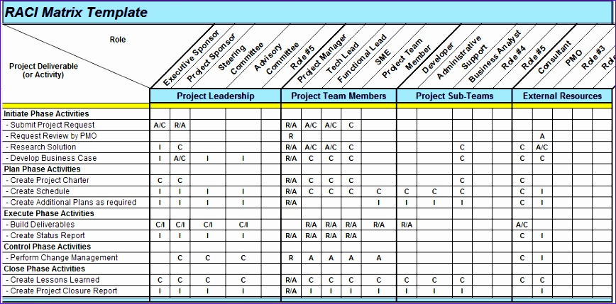 raci matrix excel template example PNG