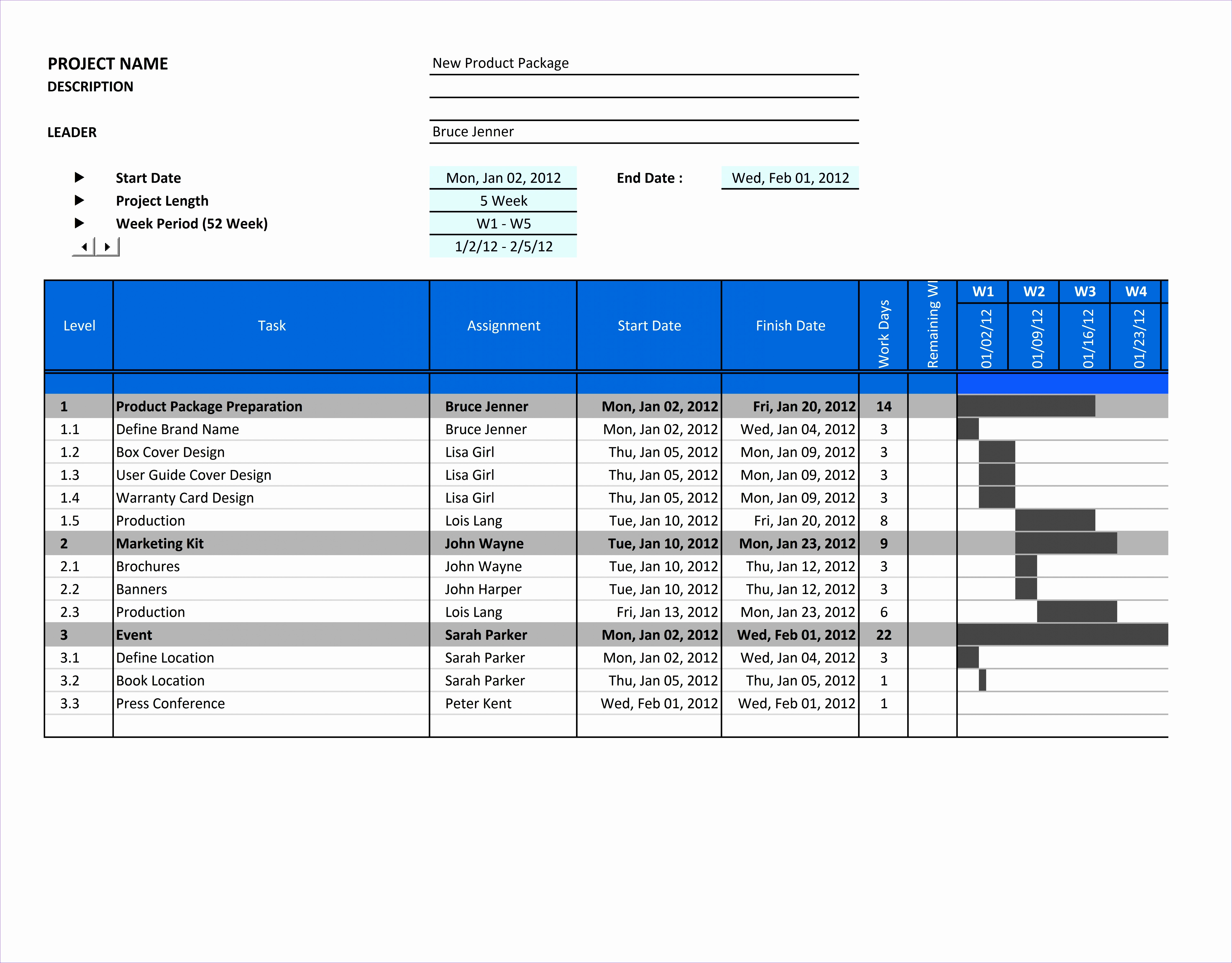 7 project plan gantt chart excel template exceltemplates for Free project plan