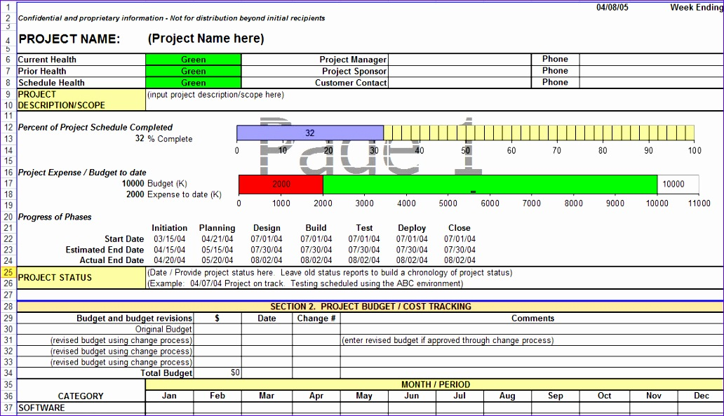 project status report in excel