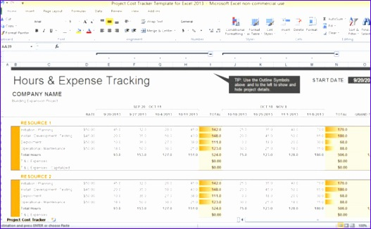 project cost tracker template for excel 2013 1 580x355