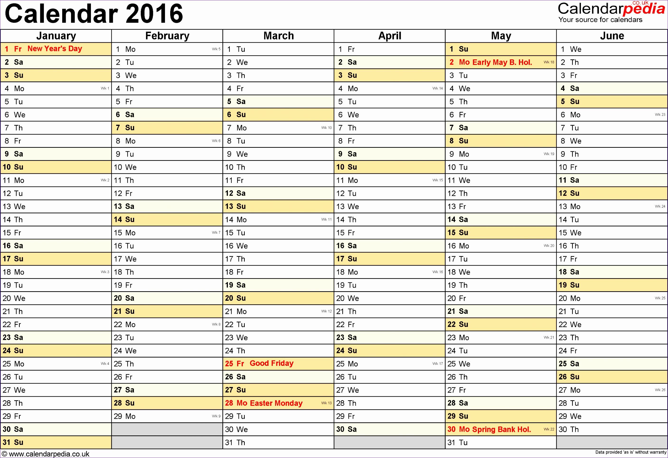 calendar 2016 printable