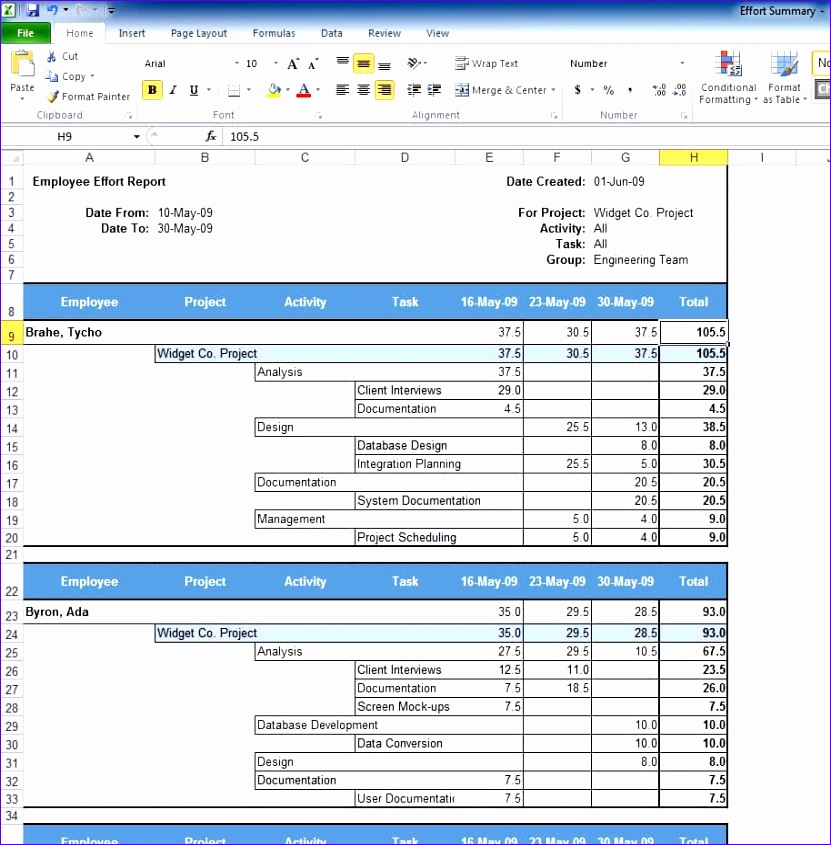 Project Status Excel Template