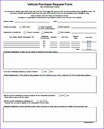 Sample Vehicle Purchase Request Form