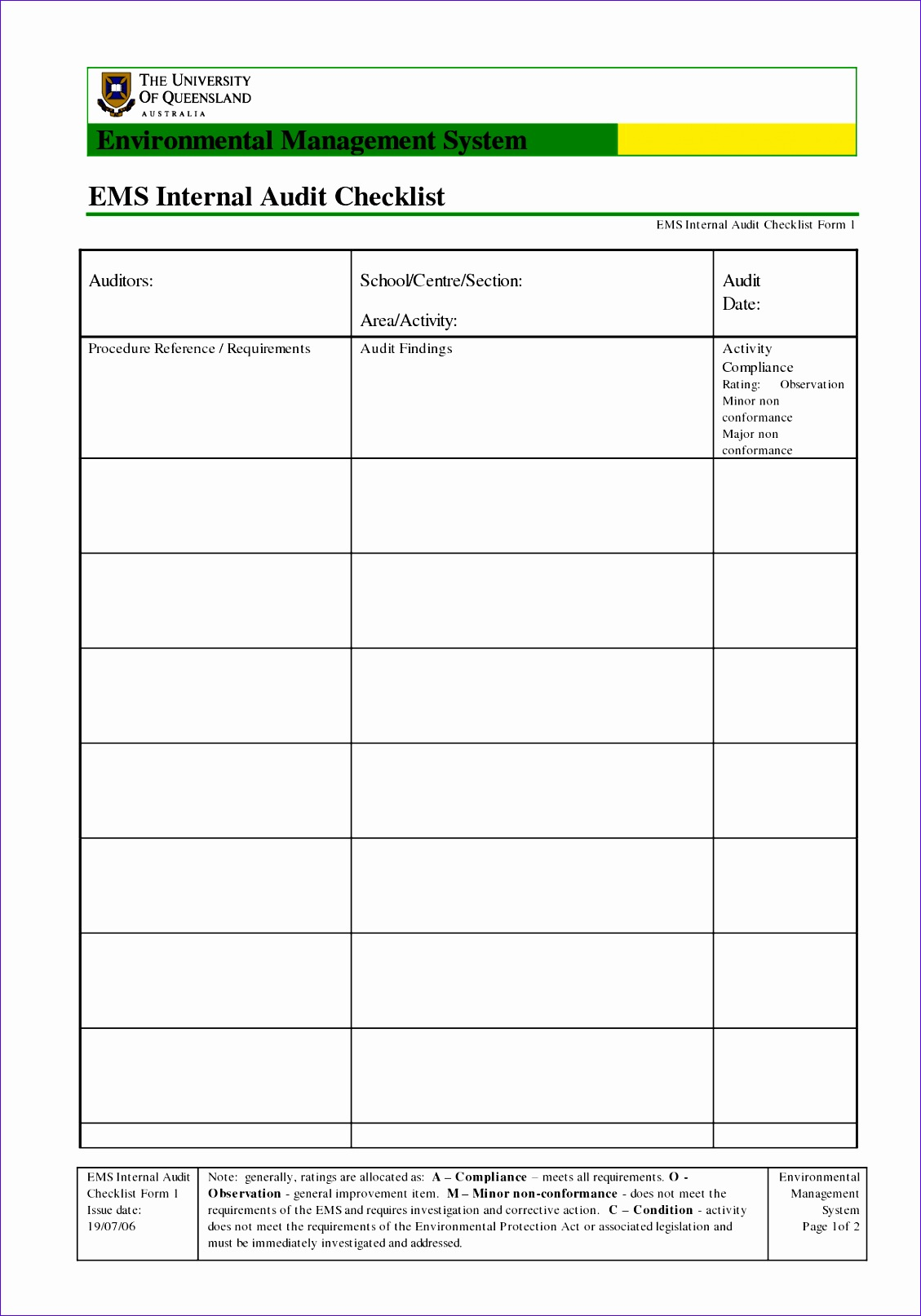 uncategorized best ems internal audit checklist form template with table for auditors and school and area